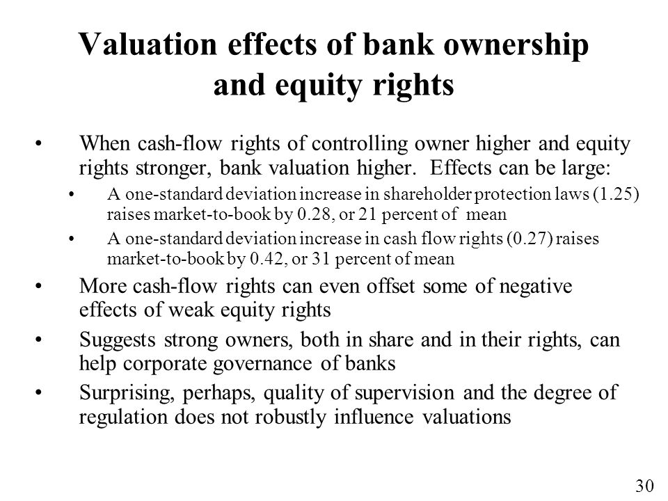30 Valuation effects of bank ownership and equity rights When cash-flow rights of controlling owner higher and equity rights stronger, bank valuation higher.