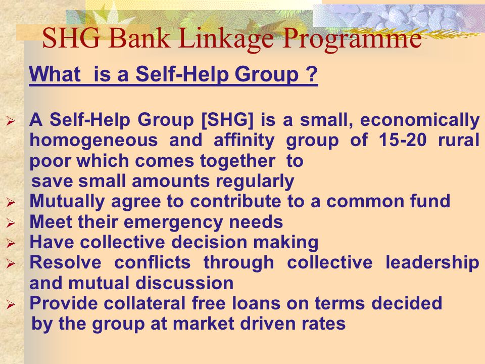 SHG Bank Linkage Programme What is a Self-Help Group .