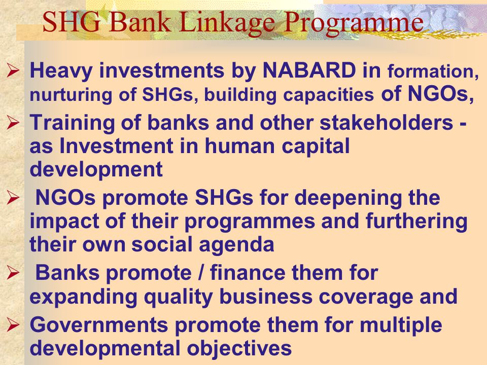 SHG Bank Linkage Programme Heavy investments by NABARD in formation, nurturing of SHGs, building capacities of NGOs, Training of banks and other stakeholders - as Investment in human capital development NGOs promote SHGs for deepening the impact of their programmes and furthering their own social agenda Banks promote / finance them for expanding quality business coverage and Governments promote them for multiple developmental objectives