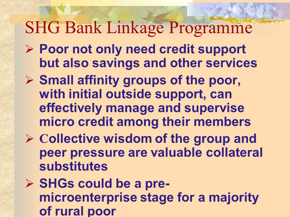 SHG Bank Linkage Programme Poor not only need credit support but also savings and other services Small affinity groups of the poor, with initial outside support, can effectively manage and supervise micro credit among their members C ollective wisdom of the group and peer pressure are valuable collateral substitutes SHGs could be a pre- microenterprise stage for a majority of rural poor