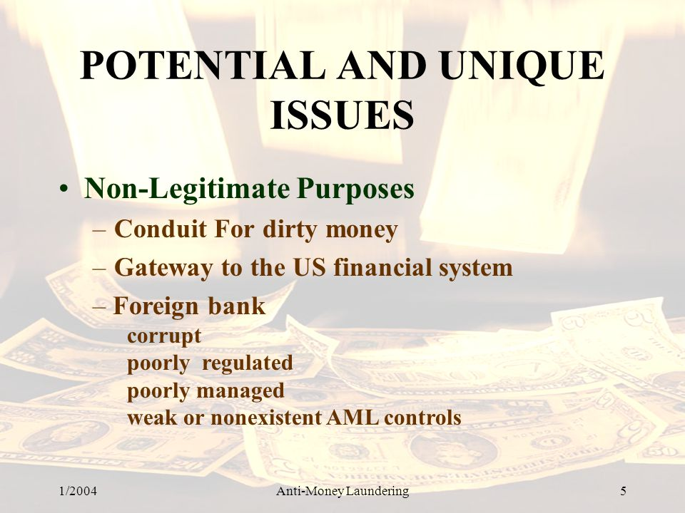 1/2004Anti-Money Laundering 5 POTENTIAL AND UNIQUE ISSUES Non-Legitimate Purposes –Conduit For dirty money –Gateway to the US financial system – Forei