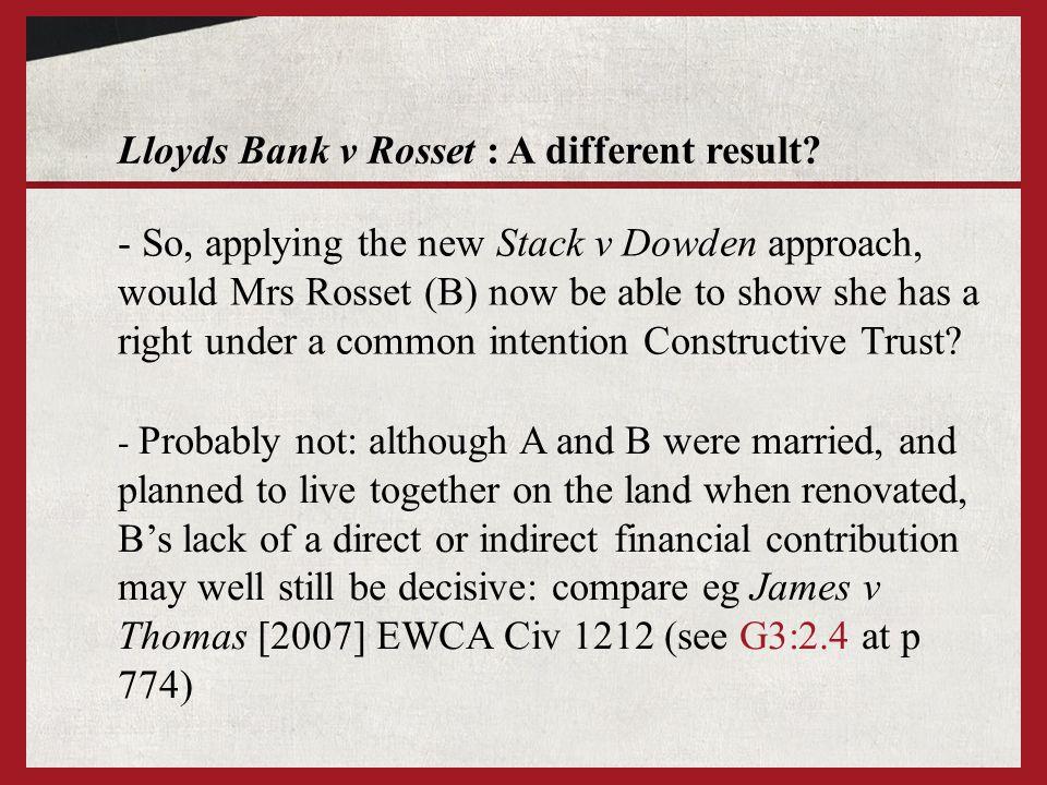 Lloyds Bank v Rosset : A different result.