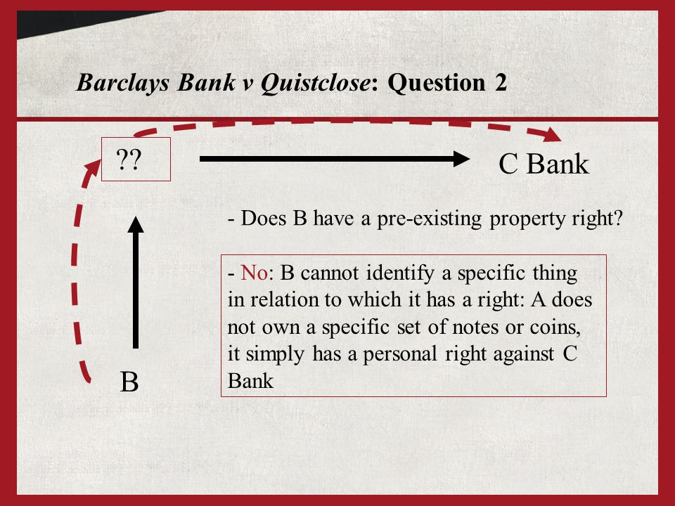 Barclays Bank v Quistclose: Question 2 ?? B - Does B have a pre-existing property right? C Bank - No: B cannot identify a specific thing in relation t