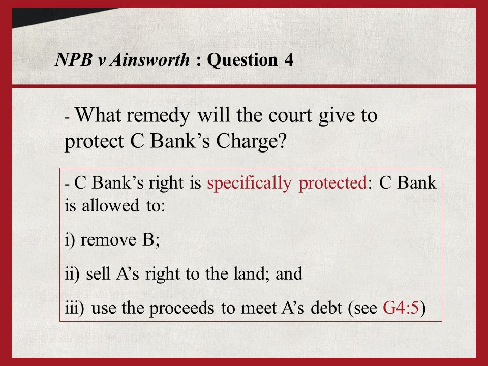 NPB v Ainsworth : Question 4 - What remedy will the court give to protect C Banks Charge.