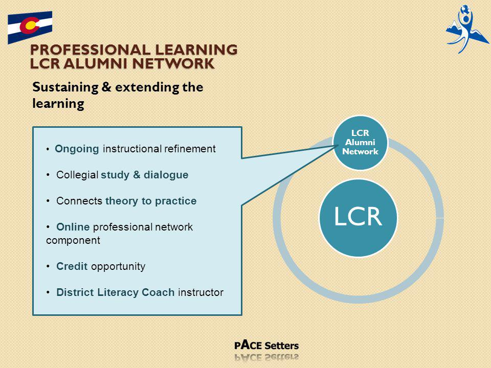 PROFESSIONAL LEARNING LCR ALUMNI NETWORK Sustaining & extending the learning LCR LCR Alumni Network Ongoing instructional refinement Collegial study & dialogue Connects theory to practice Online professional network component Credit opportunity District Literacy Coach instructor