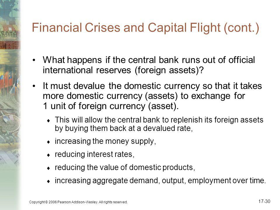 Copyright © 2006 Pearson Addison-Wesley. All rights reserved. 17-30 Financial Crises and Capital Flight (cont.) What happens if the central bank runs