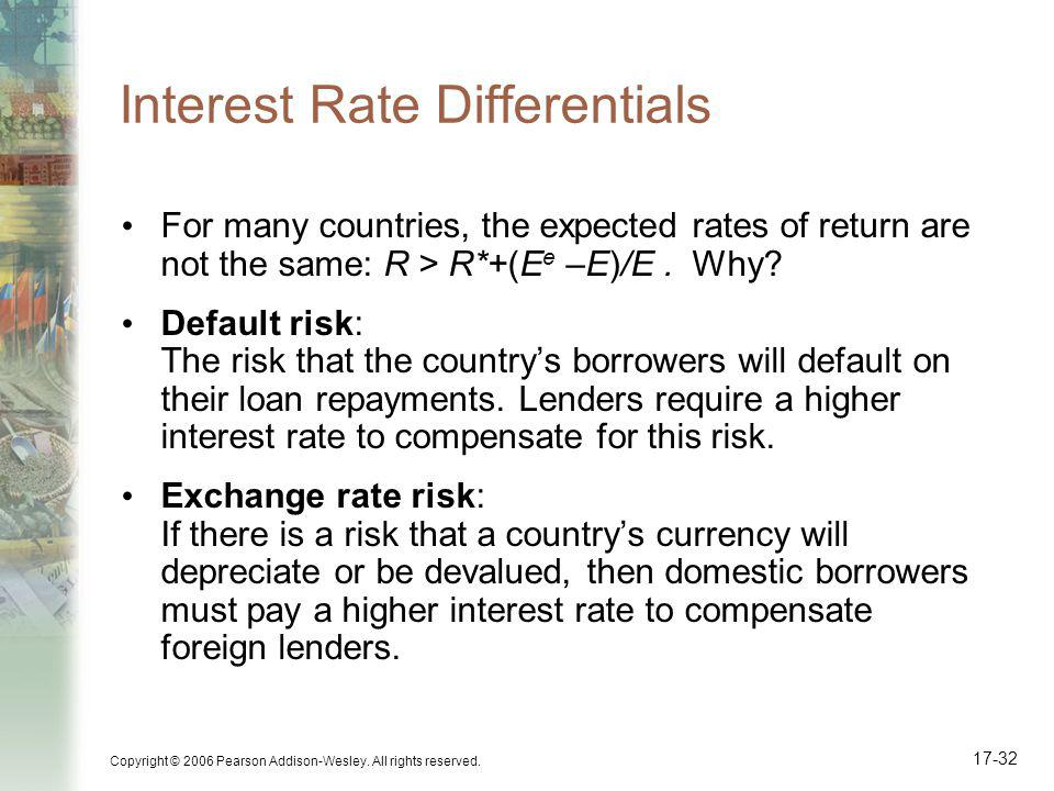 Copyright © 2006 Pearson Addison-Wesley. All rights reserved. 17-32 Interest Rate Differentials For many countries, the expected rates of return are n