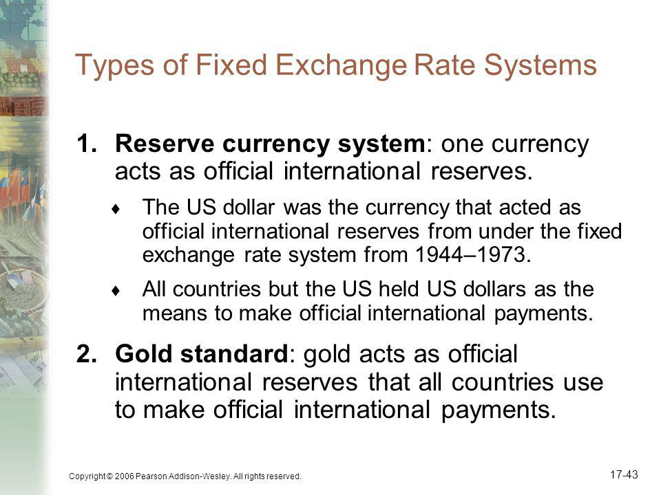 Copyright © 2006 Pearson Addison-Wesley. All rights reserved. 17-43 Types of Fixed Exchange Rate Systems 1.Reserve currency system: one currency acts