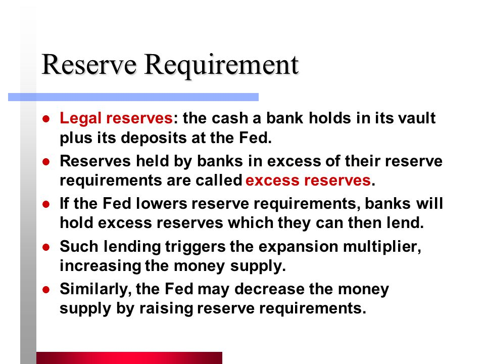 Reserve Requirement Legal reserves: the cash a bank holds in its vault plus its deposits at the Fed. Reserves held by banks in excess of their reserve