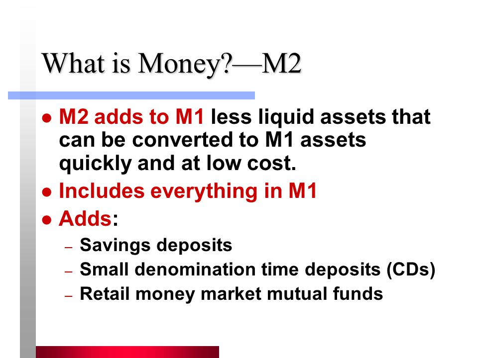 What is Money?M2 M2 adds to M1 less liquid assets that can be converted to M1 assets quickly and at low cost. Includes everything in M1 Adds: – Saving