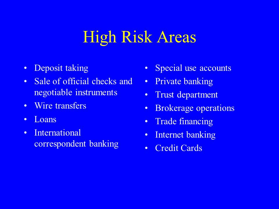 High Risk Areas Deposit taking Sale of official checks and negotiable instruments Wire transfers Loans International correspondent banking Special use accounts Private banking Trust department Brokerage operations Trade financing Internet banking Credit Cards