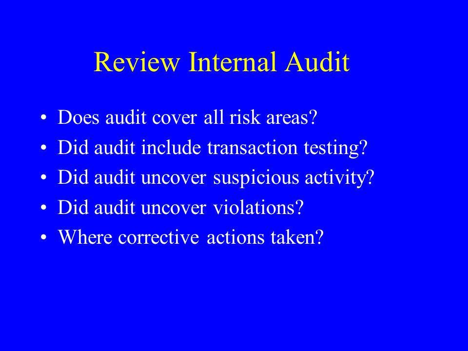 Review Internal Audit Does audit cover all risk areas.