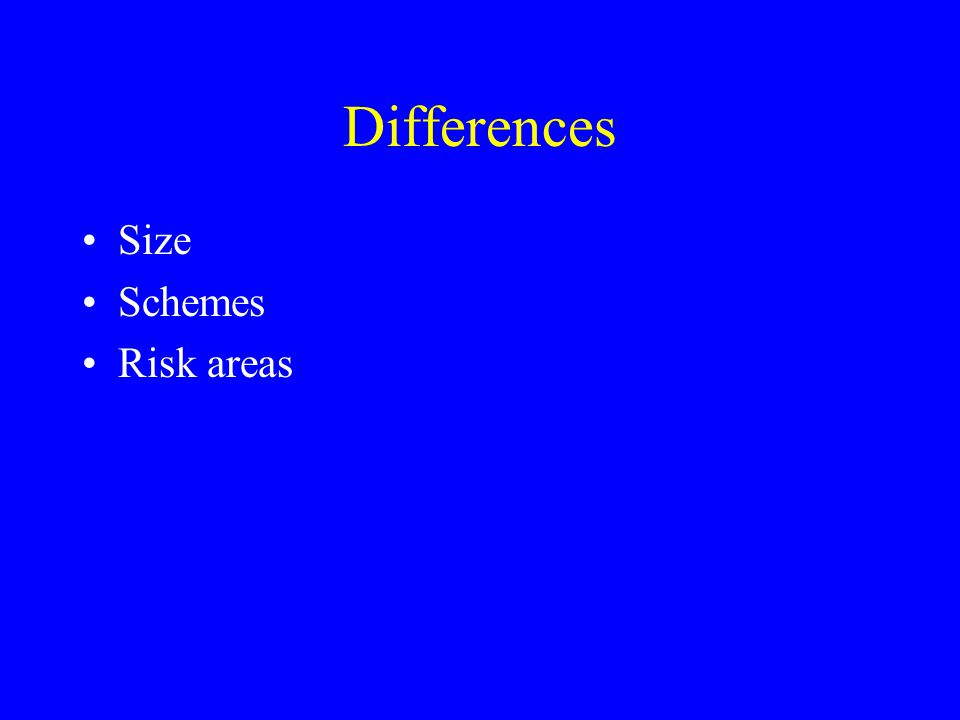 Differences Size Schemes Risk areas