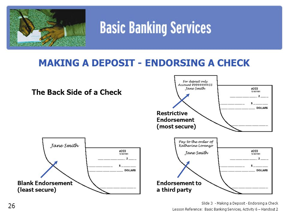 Slide 3 - Making a Deposit - Endorsing a Check Lesson Reference: Basic Banking Services, Activity 6 – Handout 2 MAKING A DEPOSIT - ENDORSING A CHECK Restrictive Endorsement (most secure) Blank Endorsement (least secure) Endorsement to a third party The Back Side of a Check 26