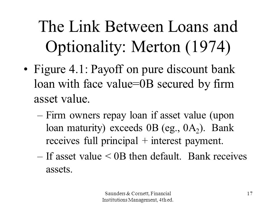 Saunders & Cornett, Financial Institutions Management, 4th ed. 17 The Link Between Loans and Optionality: Merton (1974) Figure 4.1: Payoff on pure dis