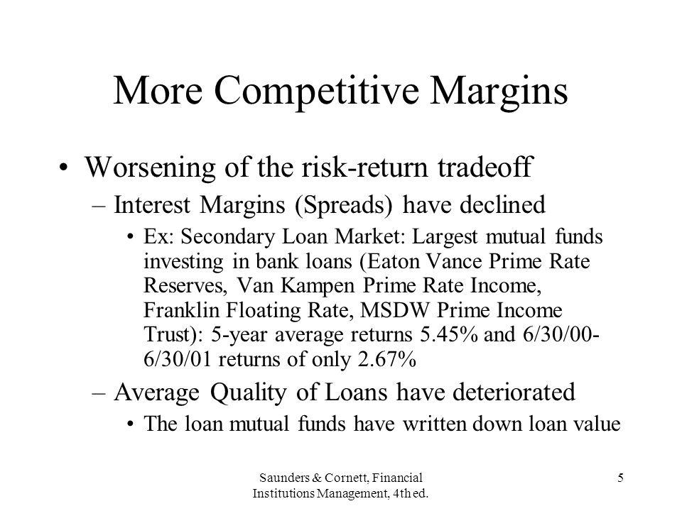 Saunders & Cornett, Financial Institutions Management, 4th ed. 5 More Competitive Margins Worsening of the risk-return tradeoff –Interest Margins (Spr
