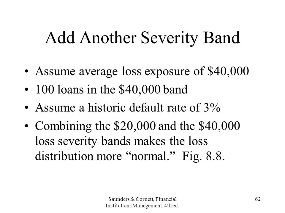 Saunders & Cornett, Financial Institutions Management, 4th ed. 62 Add Another Severity Band Assume average loss exposure of $40,000 100 loans in the $