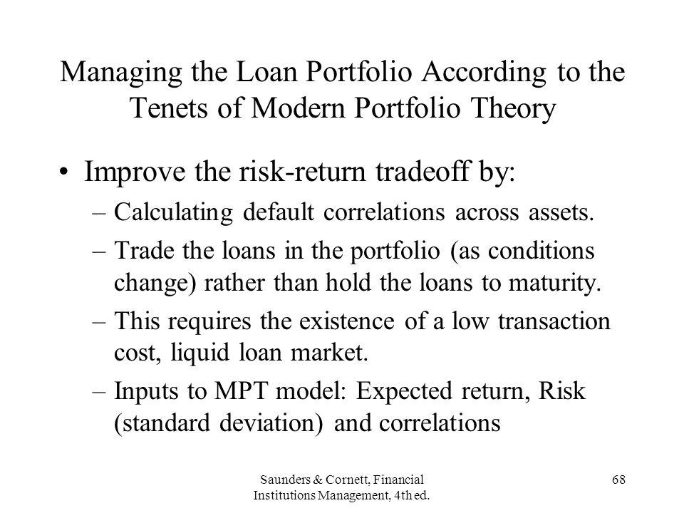 Saunders & Cornett, Financial Institutions Management, 4th ed. 68 Managing the Loan Portfolio According to the Tenets of Modern Portfolio Theory Impro
