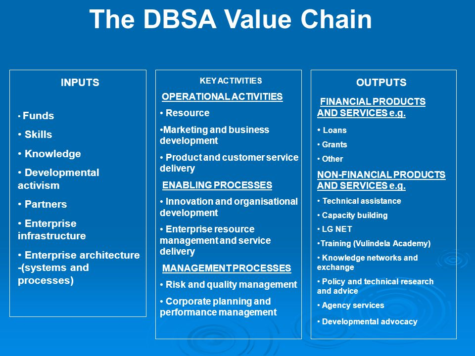 The DBSA Value Chain INPUTS Funds Skills Knowledge Developmental activism Partners Enterprise infrastructure Enterprise architecture -(systems and pro