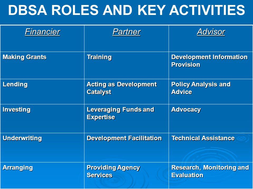 DBSA ROLES AND KEY ACTIVITIESFinancierPartnerAdvisor Making Grants Training Development Information Provision Lending Acting as Development Catalyst P