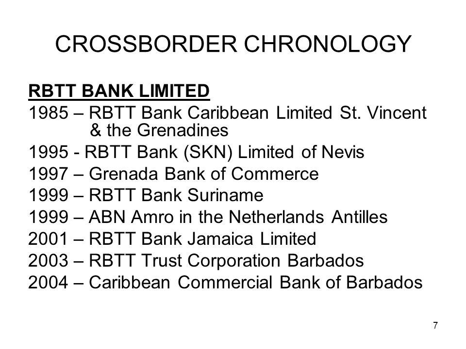 7 CROSSBORDER CHRONOLOGY RBTT BANK LIMITED 1985 – RBTT Bank Caribbean Limited St. Vincent & the Grenadines 1995 - RBTT Bank (SKN) Limited of Nevis 199
