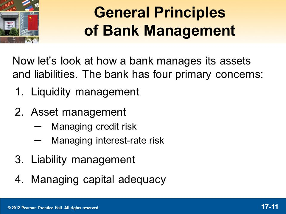 © 2012 Pearson Prentice Hall. All rights reserved. 17-11 General Principles of Bank Management 1.Liquidity management 2.Asset management Managing cred