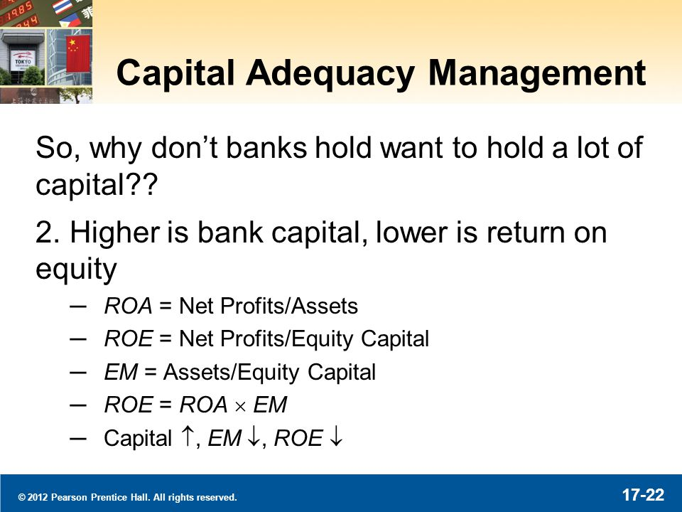 © 2012 Pearson Prentice Hall. All rights reserved. 17-22 Capital Adequacy Management So, why dont banks hold want to hold a lot of capital?? 2. Higher