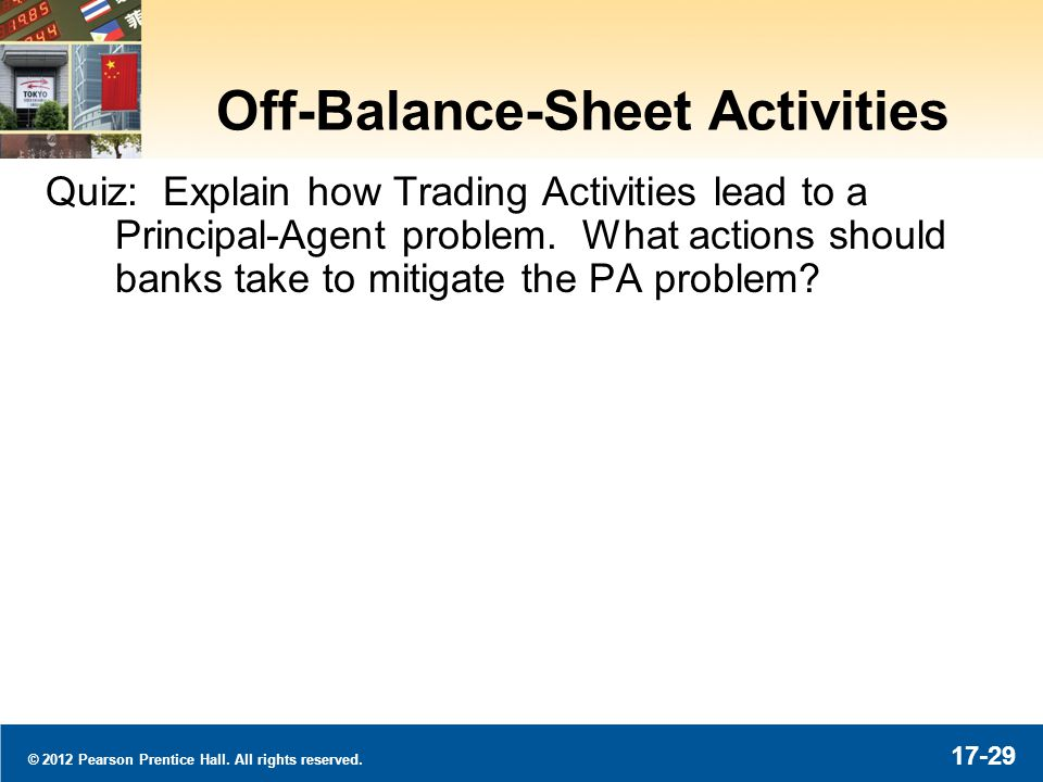 © 2012 Pearson Prentice Hall. All rights reserved. 17-29 Off-Balance-Sheet Activities Quiz: Explain how Trading Activities lead to a Principal-Agent p