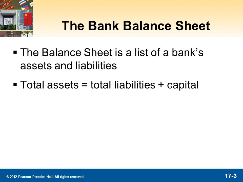 © 2012 Pearson Prentice Hall. All rights reserved. 17-3 The Bank Balance Sheet The Balance Sheet is a list of a banks assets and liabilities Total ass