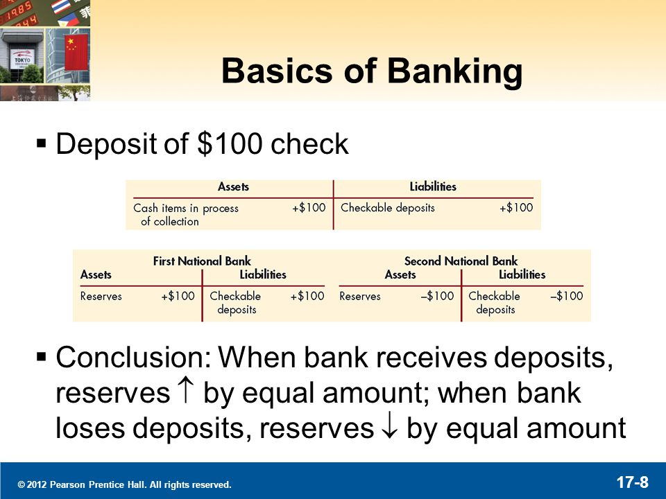 © 2012 Pearson Prentice Hall. All rights reserved. 17-8 Basics of Banking Deposit of $100 check Conclusion: When bank receives deposits, reserves by e