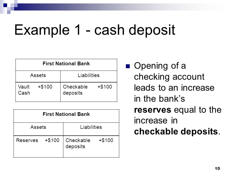 10 Example 1 - cash deposit Opening of a checking account leads to an increase in the banks reserves equal to the increase in checkable deposits. Firs