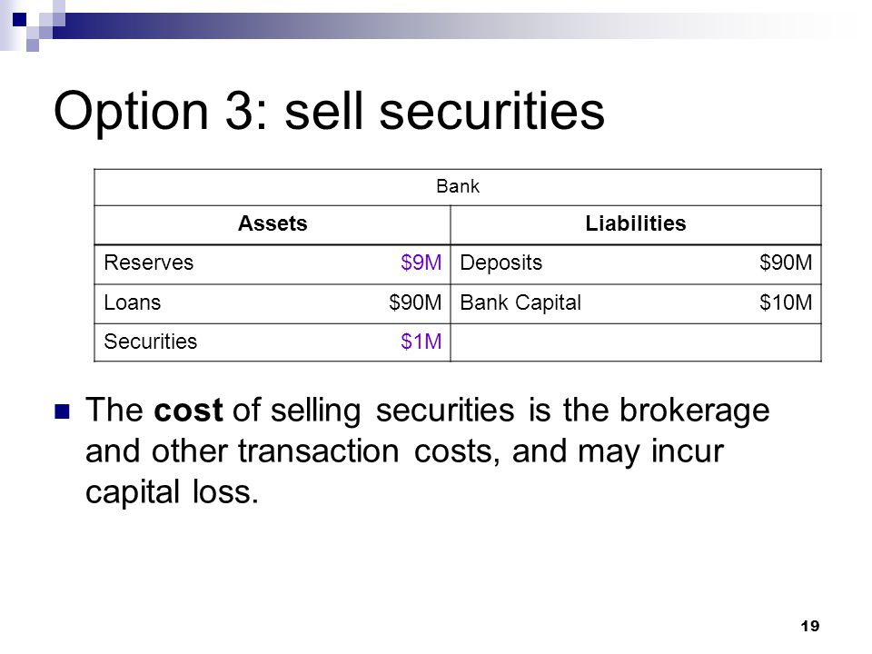 19 Option 3: sell securities The cost of selling securities is the brokerage and other transaction costs, and may incur capital loss. Bank AssetsLiabi