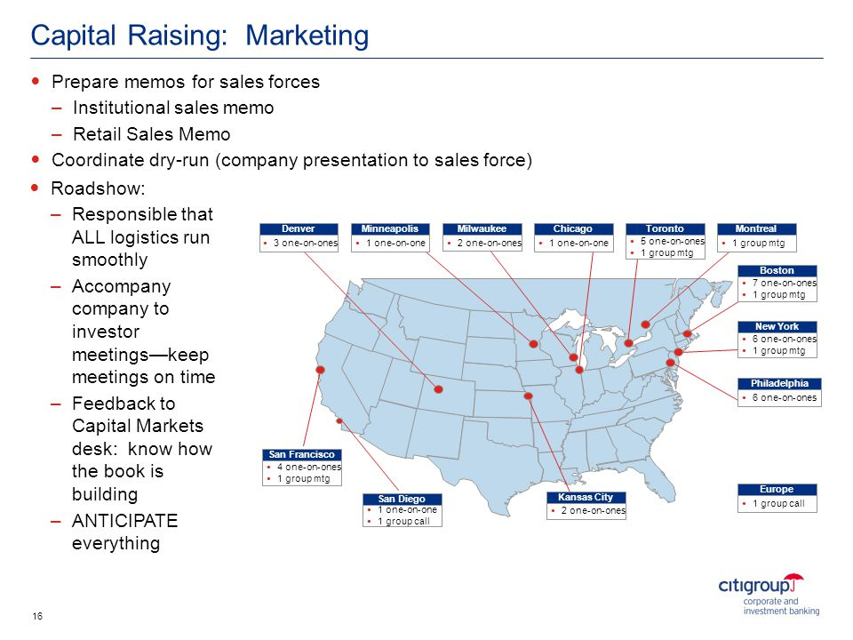 Capital Raising: Marketing Prepare memos for sales forces –Institutional sales memo –Retail Sales Memo Coordinate dry-run (company presentation to sal