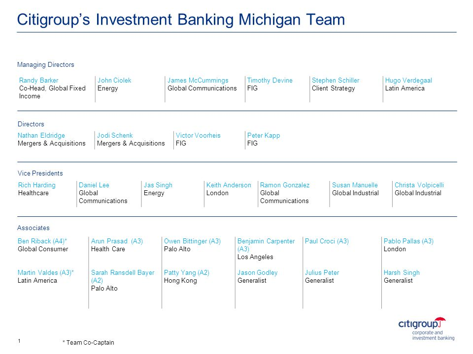 Citigroups Investment Banking Michigan Team Randy Barker Co-Head, Global Fixed Income John Ciolek Energy James McCummings Global Communications Timoth