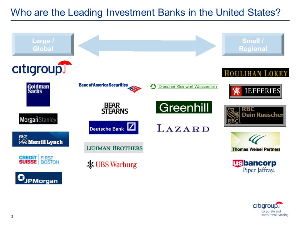 Large / Global Small / Regional Who are the Leading Investment Banks in the United States? 3