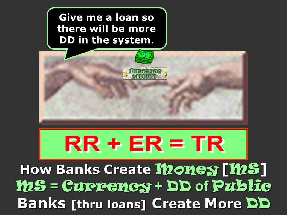 How Banks Create Money [ MS ] MS = Currency + DD of Public Banks [thru loans] C reate M ore DD Give me a loan so there will be more DD in the system.