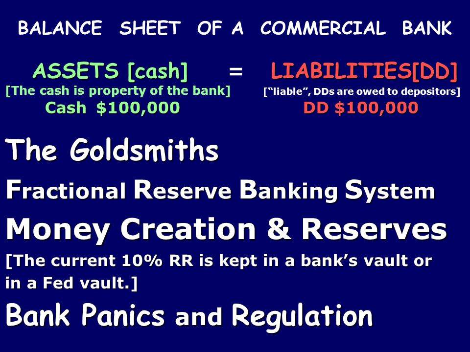 BALANCE SHEET OF A COMMERCIAL BANK ASSETS [cash]LIABILITIES[DD] ASSETS [cash] = LIABILITIES[DD] [The cash is property of the bank] [liable, DDs are owed to depositors] Cash $100,000 DD $100,000 The Goldsmiths F ractional R eserve B anking S ystem Money Creation & Reserves [The current 10% RR is kept in a banks vault or in a Fed vault.] Bank Panics and Regulation