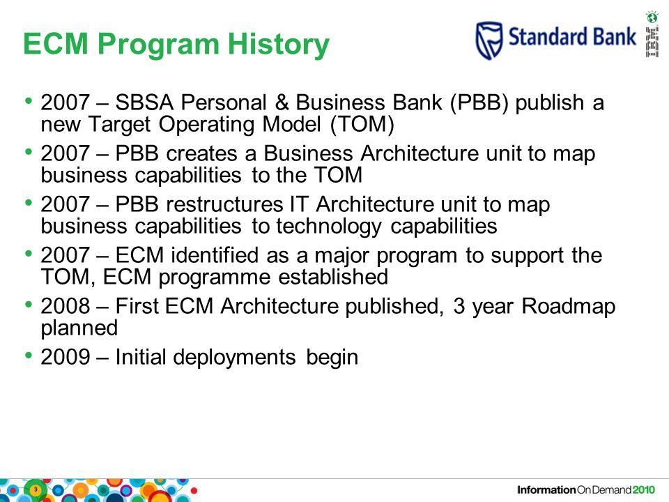 9 ECM Program History 2007 – SBSA Personal & Business Bank (PBB) publish a new Target Operating Model (TOM) 2007 – PBB creates a Business Architecture