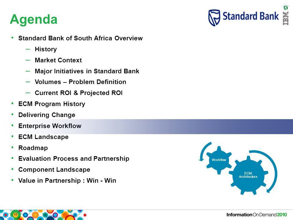 15 Agenda ECM Architecture Workflow Standard Bank of South Africa Overview – History – Market Context – Major Initiatives in Standard Bank – Volumes – Problem Definition – Current ROI & Projected ROI ECM Program History Delivering Change Enterprise Workflow ECM Landscape Roadmap Evaluation Process and Partnership Component Landscape Value in Partnership : Win - Win