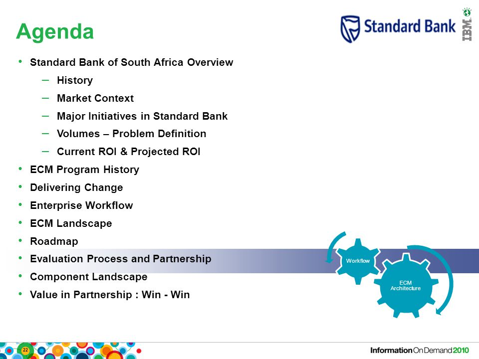 22 Agenda ECM Architecture Workflow Standard Bank of South Africa Overview – History – Market Context – Major Initiatives in Standard Bank – Volumes – Problem Definition – Current ROI & Projected ROI ECM Program History Delivering Change Enterprise Workflow ECM Landscape Roadmap Evaluation Process and Partnership Component Landscape Value in Partnership : Win - Win