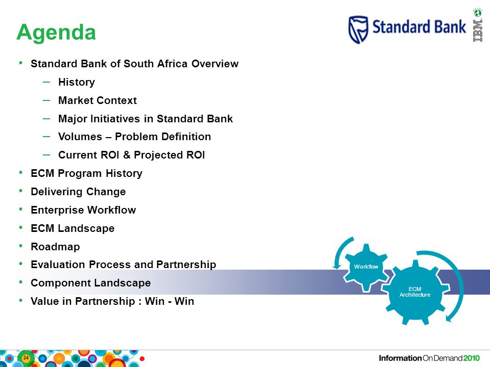 24 Agenda ECM Architecture Workflow Standard Bank of South Africa Overview – History – Market Context – Major Initiatives in Standard Bank – Volumes –