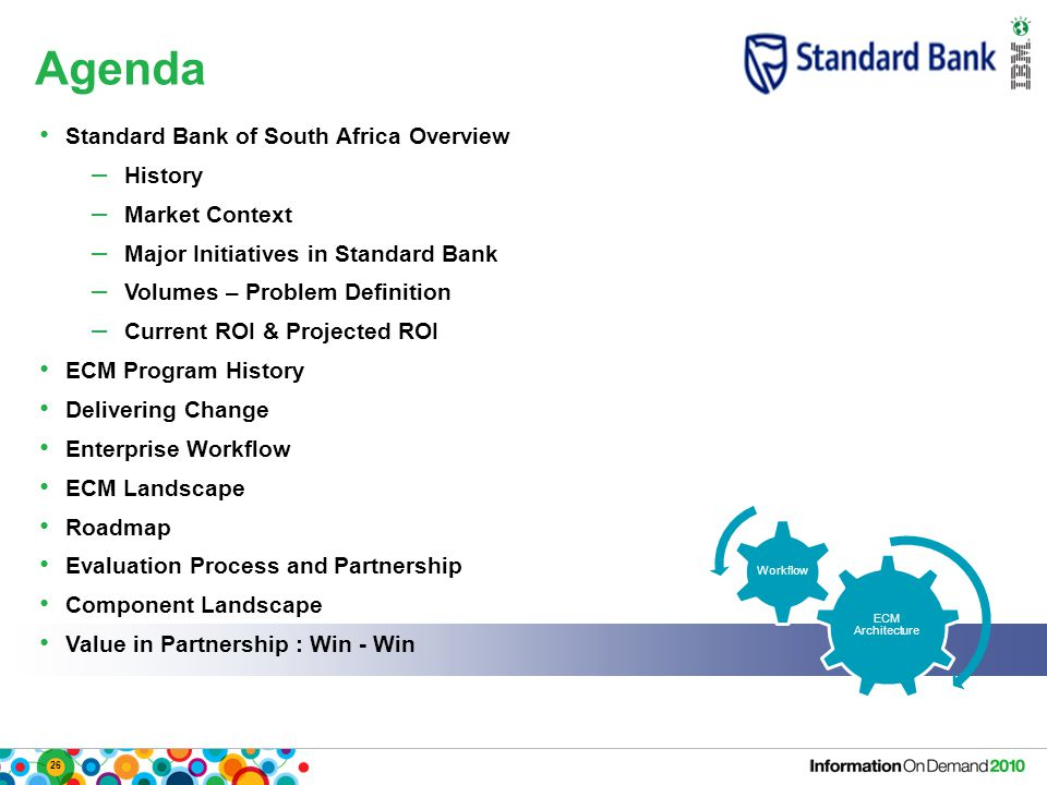 26 Agenda ECM Architecture Workflow Standard Bank of South Africa Overview – History – Market Context – Major Initiatives in Standard Bank – Volumes – Problem Definition – Current ROI & Projected ROI ECM Program History Delivering Change Enterprise Workflow ECM Landscape Roadmap Evaluation Process and Partnership Component Landscape Value in Partnership : Win - Win