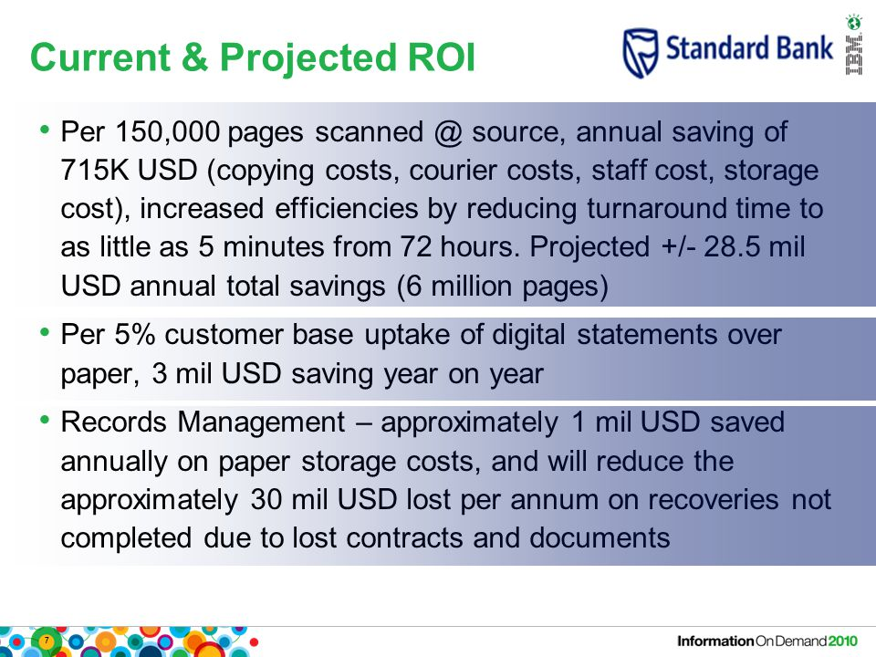 7 Current & Projected ROI Per 150,000 pages source, annual saving of 715K USD (copying costs, courier costs, staff cost, storage cost), increased efficiencies by reducing turnaround time to as little as 5 minutes from 72 hours.