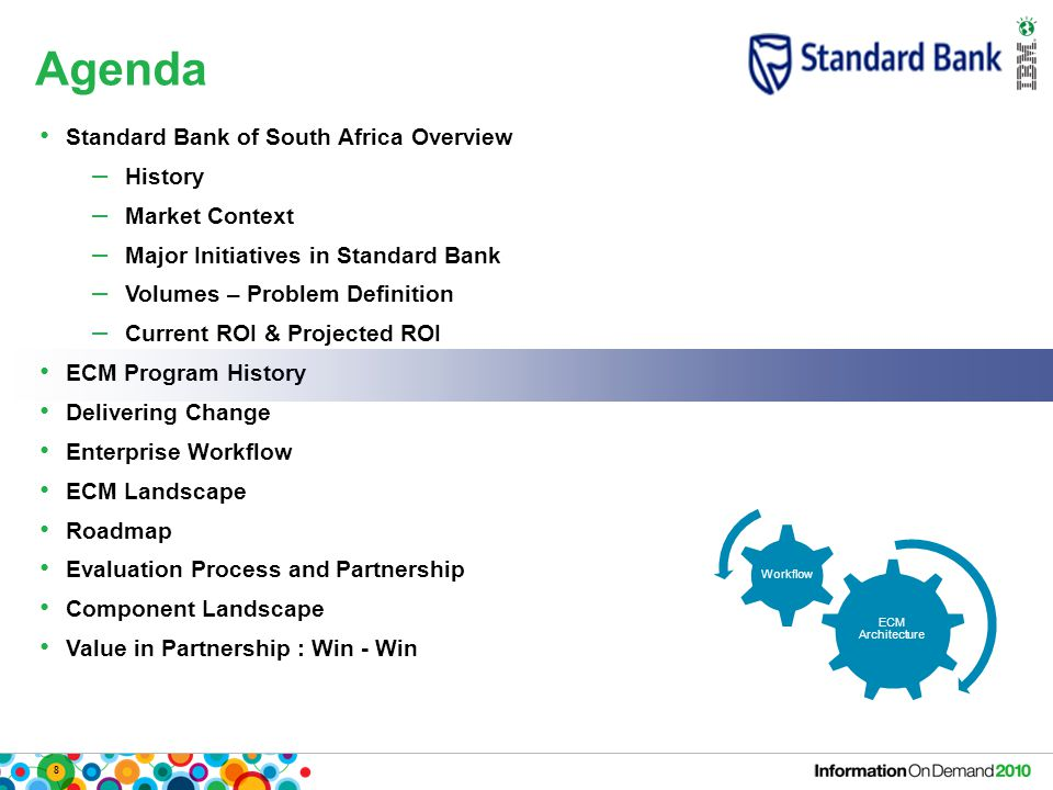 8 Agenda ECM Architecture Workflow Standard Bank of South Africa Overview – History – Market Context – Major Initiatives in Standard Bank – Volumes –