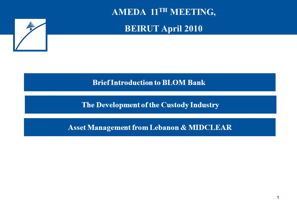 1 Brief Introduction to BLOM Bank Asset Management from Lebanon & MIDCLEAR The Development of the Custody Industry AMEDA 11 TH MEETING, BEIRUT April 2010