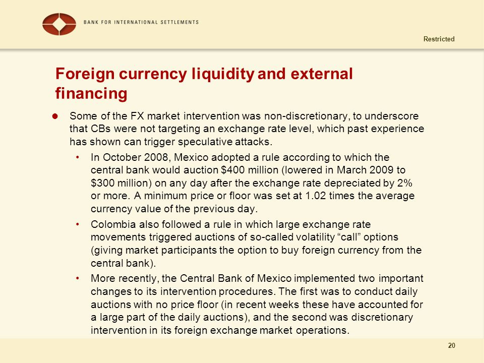 Restricted 20 Foreign currency liquidity and external financing Some of the FX market intervention was non-discretionary, to underscore that CBs were