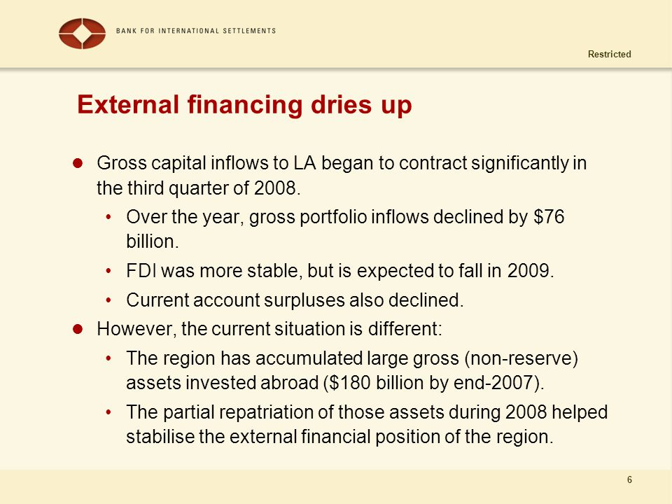 Restricted 6 External financing dries up Gross capital inflows to LA began to contract significantly in the third quarter of 2008. Over the year, gros