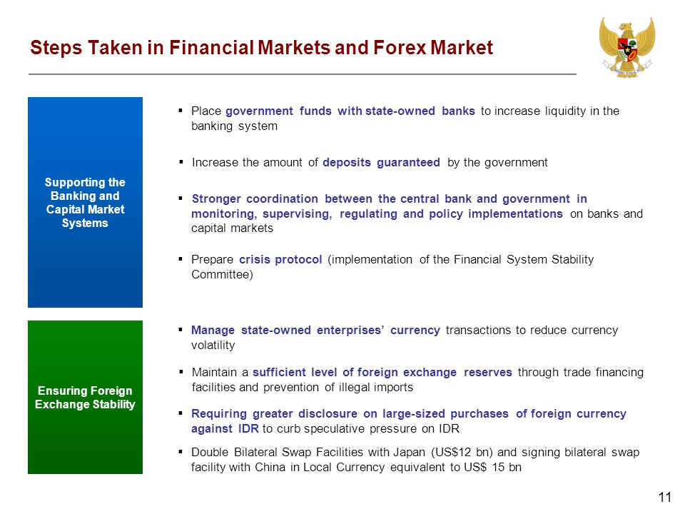 11 Steps Taken in Financial Markets and Forex Market Supporting the Banking and Capital Market Systems Place government funds with state-owned banks t