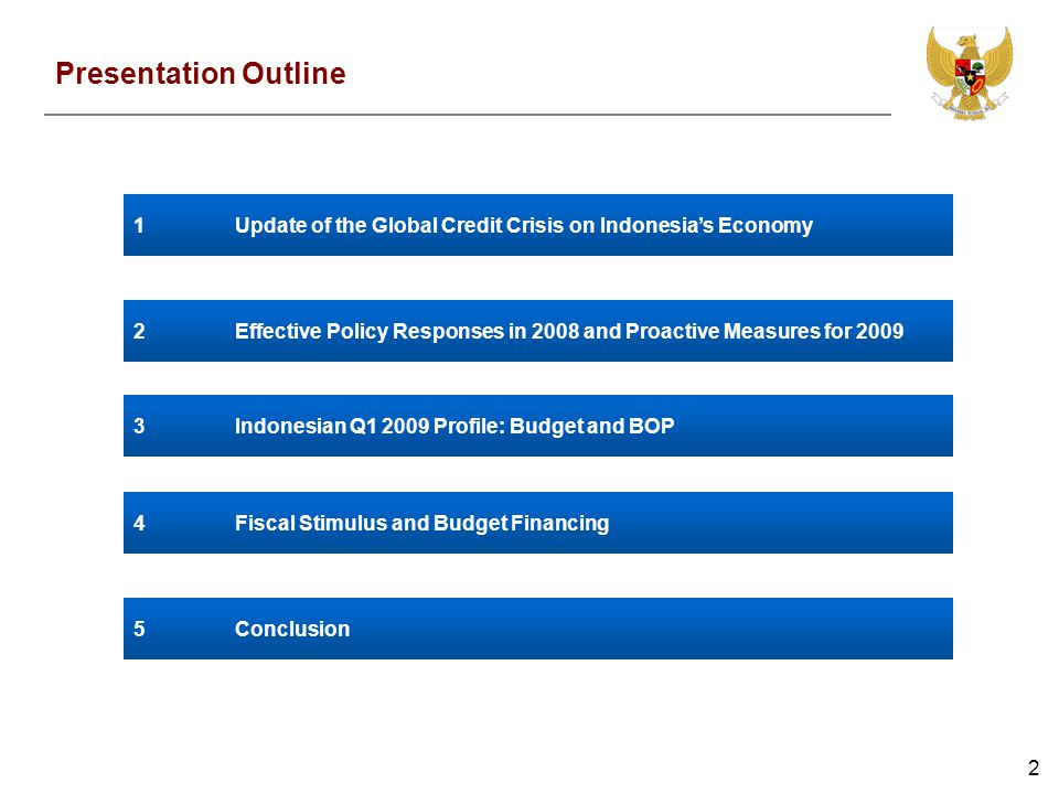 2 Presentation Outline 1Update of the Global Credit Crisis on Indonesias Economy 2Effective Policy Responses in 2008 and Proactive Measures for 2009 4Fiscal Stimulus and Budget Financing 5Conclusion 3Indonesian Q1 2009 Profile: Budget and BOP