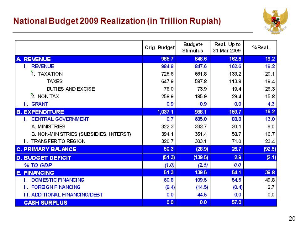 20 National Budget 2009 Realization (in Trillion Rupiah)